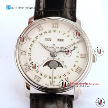 BlancPain Villeret Moonphase & Complete Calendar 9015 Auto Steel Case With White Dial For Sale